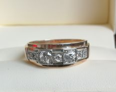 14K antique men's ring with 7 diamonds: wedding, anniversary band, with a total diamonds of: 0,88 ct.