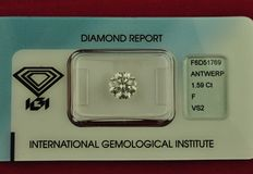 IGI Certified & Sealed - Round Brilliant cut (1.59Carat weight) natural Diamond - Color F - Clarity VS2 Excellent, Excellent, Excellent.