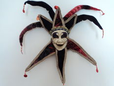 "Venetian mask ""JOLLY"" in porcelain and velvet, handcrafted"