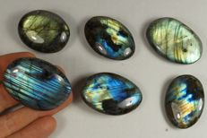 Labradorite big lot - intensive labradorescence - full polished - 207gm (6)