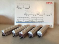 "Märklin H0 - 46262 - Five-piece set self unloading carriages ""Lime transport"" of the DB"