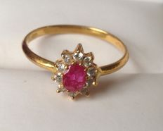 22kt Ruby Cluster Ring - Ring Size 8, Q 18.19mm