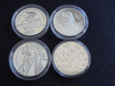 France - 1½ Euro 2003, 2004, 2005 and 2006 (4 different) - silver