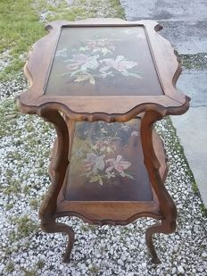Particular small table with 2 shelves hand-painted directly on the wood - France - ca. 1890