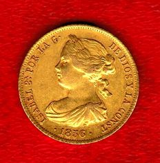 Spain – Isabel II (1833–1868) – 100 reales gold coin – Madrid – 1856