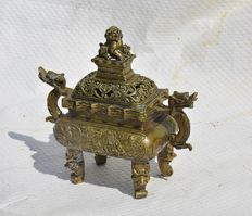 Censer, bronze incense burner with brand mark – China – second half of the 20th century