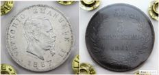 Kingdom of Italy – 1 lira 1867 M and 5 cents 1861 M Victor Emmanuel II – (2 coins, one in silver)