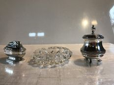 Set of 2 silver plated desk lighters and 1 ashtray in crystal - 1960's