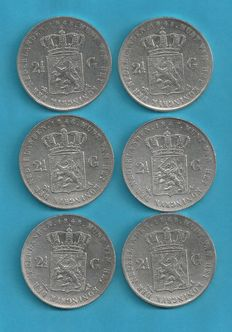 The Netherlands - 2½ guilders 1845, 1845(stripe), 1846, 1847, 1848 and 1849 Willem II (6 pieces) - silver