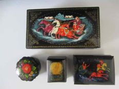 Four Russian lacquer boxes - 3 signed