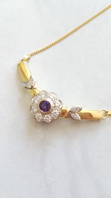 18 kt gold necklace with amethyst and diamonds