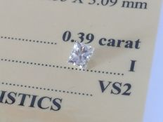 Diamond – 0.39 ct - I/VS2 EXC/EXC ** No Reserve **