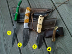 3 x Damascus hunting knife/outdoor/camping + 1 x Damascus Steel folding knife & 100 ml Camellia care oil