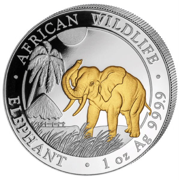 Somalia – 100 Shillings 2017 'Elephant' with 24 kt gold plating – 1 oz silver
