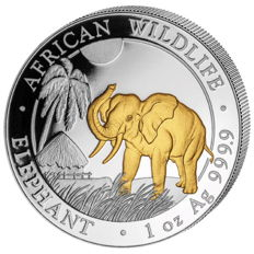 1 oz African Wildlife Series - Elephant 2017 - 100 Shillings - 999 Silver - Silver Coin with 24 carat Gold Finish