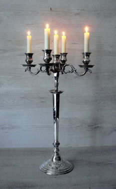 5-light silver plated candlestick, can also be used as a 1-light candlestick. 60 cm