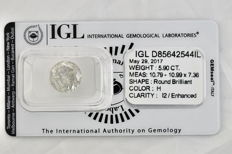 5.90 Carat Certified loose diamond H  I2 Diamond