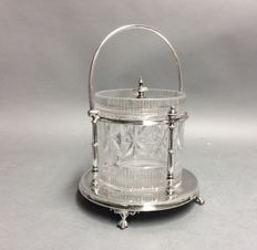 Crystal cut cookie jar in silver plated holder, Dykes Brothers, Glasgow, ca. 1890