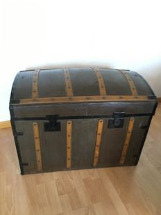 French trunk. Bent wood and metal, France Beginning of 20th century