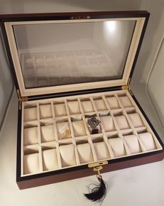 Very luxurious, elegant, durable, solid cherry wood watch box for 24 watches, with lock
