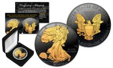 1 oz Silver 2016, American silver Eagle, SPECIAL BLACK RUTHENIUM EDITION, 24K gold plated on both sides