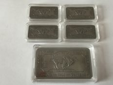 USA - 5 pieces 999 Niob - Nb - Niobium - American Buffalo bar - rare earth metal