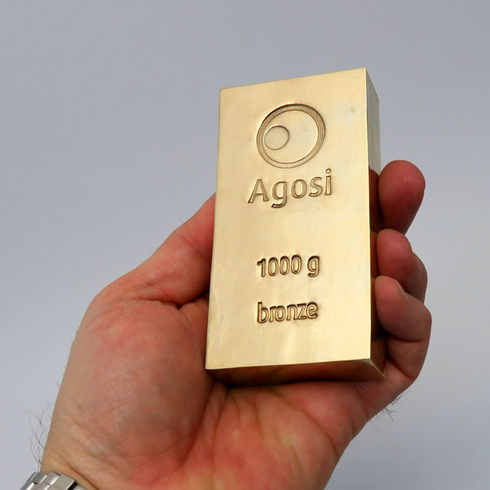 1 pieces bronze bar Agosi 1 kg / 1000 grams alternative investment metals