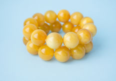 Baltic Amber bracelets set of 2 pieces, butterscotch, egg yolk honey colour, 85 gram