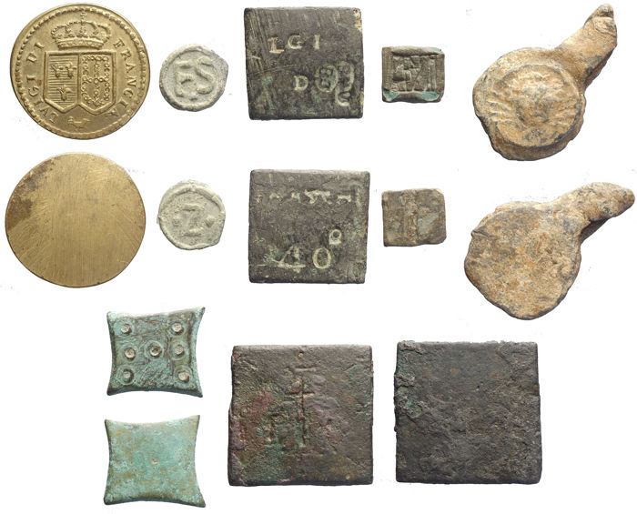 Monetary weights, seals and tiles.  Interesting lot of 7 pieces.