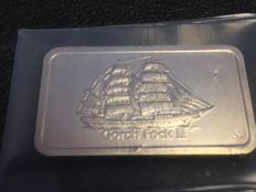 Degussa - 1 oz 999 beautiful old historic silver bullion Gorch Fock II Sailing Ship - themed bars