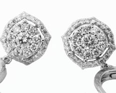 White gold Diamond Leverback earrings Drop Earrings