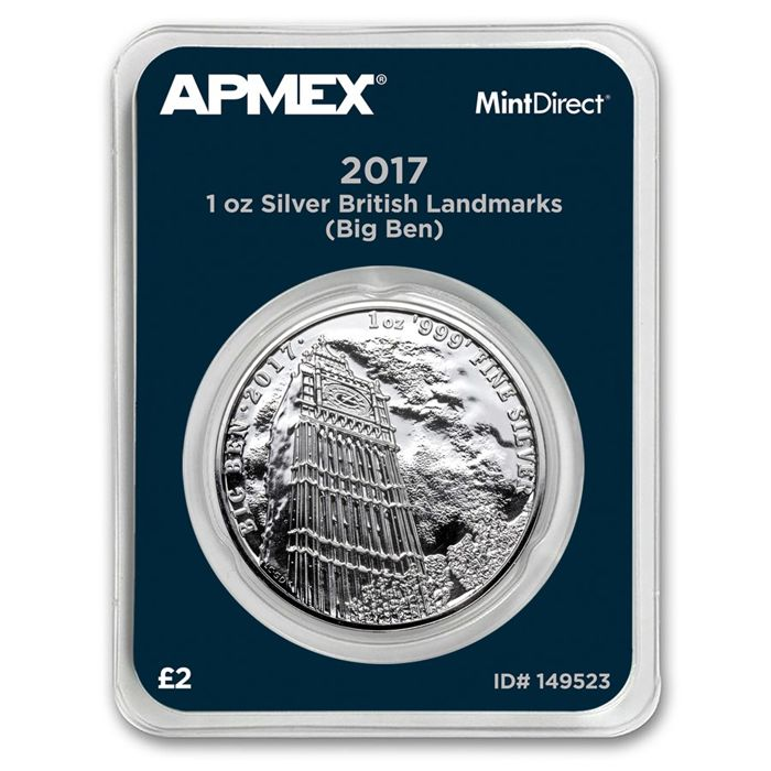 Great Britain - 2 Pounds 2017 'Big Ben' MintDirect packaging - 1 oz silver