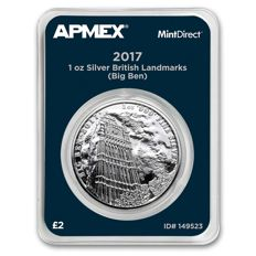 Great Britain – 2 Pounds 2017 'Big Ben' in MintDirect single packaging with serial number – 1 oz silver
