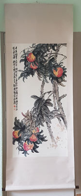 A Hand-painted scroll painting, made after Wu Changshuo - China - late 20th century