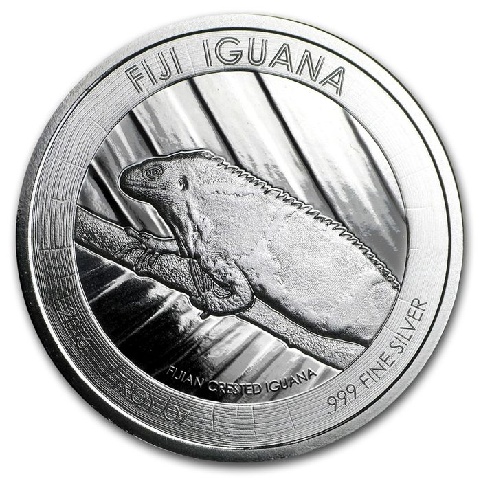 Fiji - 1 Dollar - Iguana 2016 - 1 coin 999 fine silver with certificate