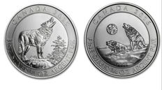 Canada - 2 x 2 $ - 2 pieces 999 silver coins Grey Wolf / Howling Wolf 2015 + 2016