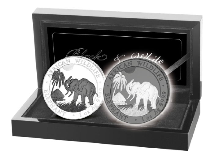 Somalia - 100 Shilling 2017 'Wildlife Elephant Black & White Set' - 2 x 1 oz silver