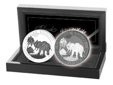 Somalia - 2 x 100 shilling - wildlife elephant black & white set 2017 - edition of 500 pieces - 999 silver & plated with ruthenium