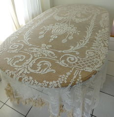 Antique hand made filet crochet curtain/bed-spreads - France - 1920