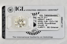8.48 Carat Certified loose diamond M  SI2 Diamond