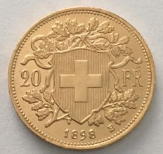 Switzerland - 20 francs 1898 B 'Vreneli' - gold
