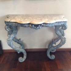 Walnut painted Baroque wall table - with adjustments - ca. 1900