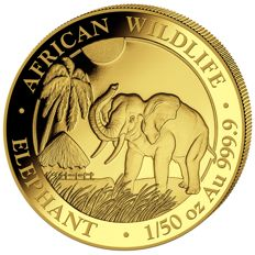 Somalia - 20 shillings 2017 'elephant' - 1/50oz gold