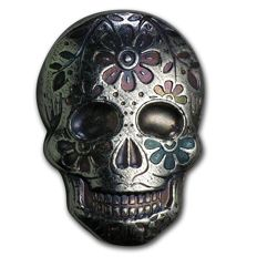 USA - 2 oz - 999 silver bar - Monarch Metals - Sugar Skull 3D - unique piece