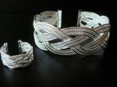 925 silver rigid bracelet with interlaced frames with matching ring, adjustable,