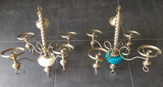 Two chandeliers in chrome, opalescent blue turquoise and white - Italy - second half of the 20th century