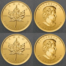 Canada – lot of 2 x 50 cents – 2014 – gold