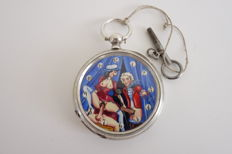 Pocket watch with erotic image - Ancre - 1905