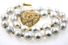 Luxury collier South Sea pearl necklace with heart clasp 750 gold 7.71 brilliants 41 cm with certificate