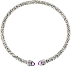 Chimento – 'Stretch' silver stretch necklace with Amethyst – neck size 36-40 cm